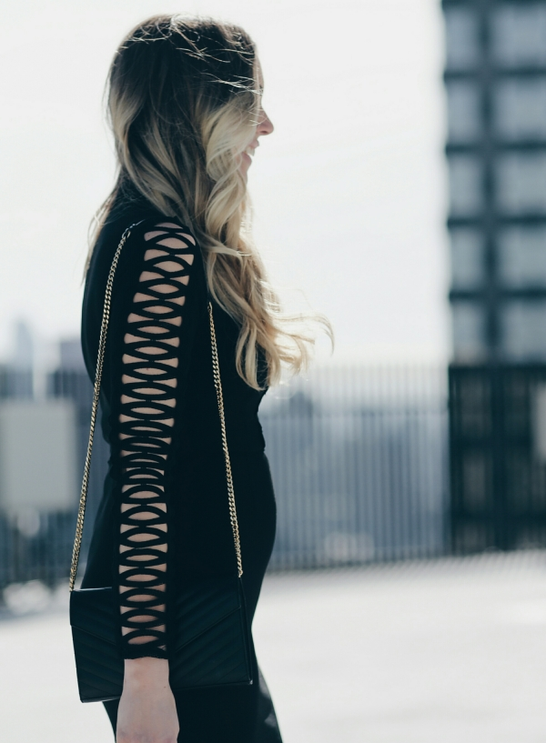 Missguided Lace Inset Long Sleeve Sheath Dress on Lauren Sebsatian of BigBlondeHair.com