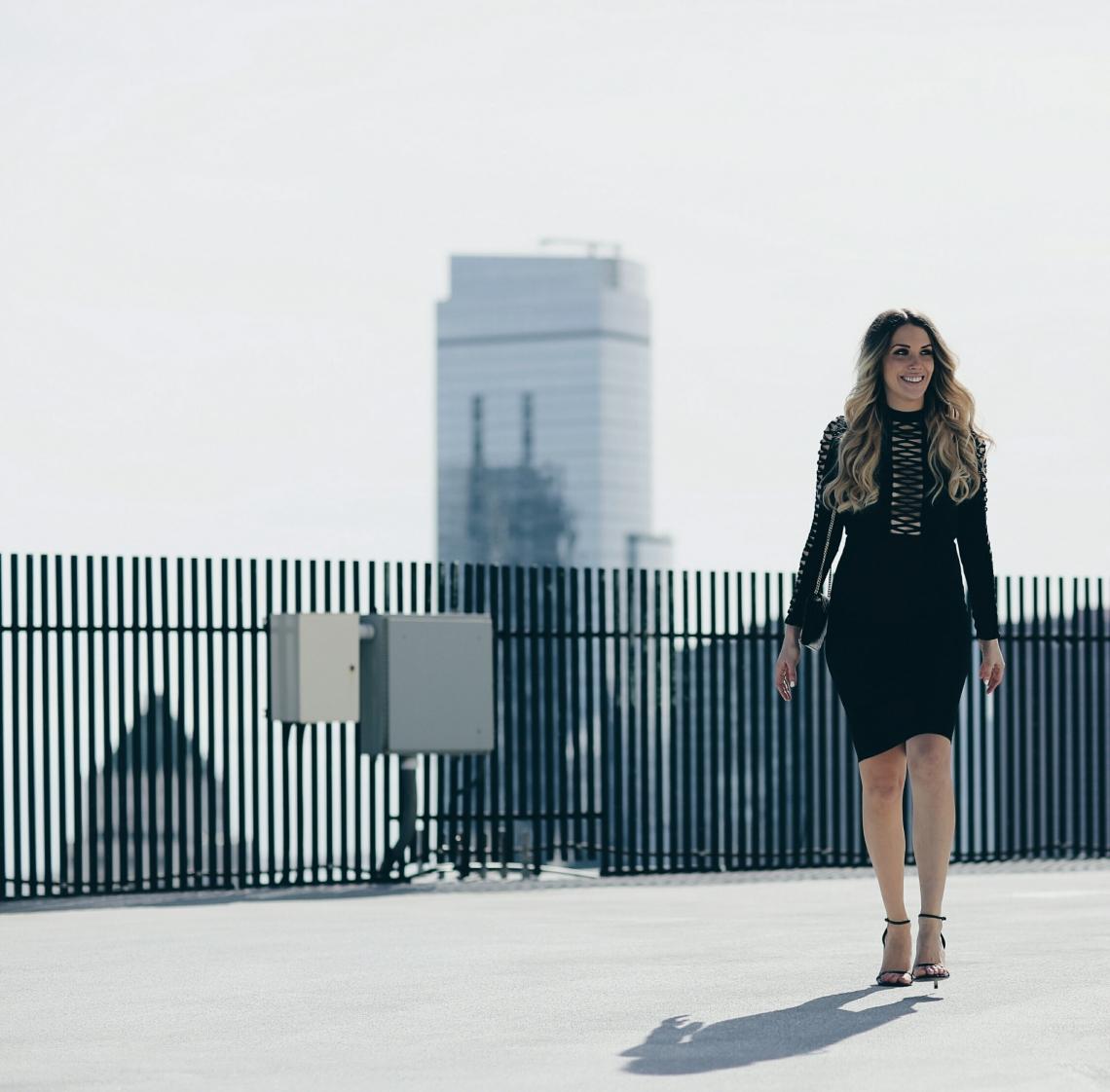 Missguided Lace Inset Long Sleeve Sheath Dress on Lauren Sebsatian of BigBlondeHair.com