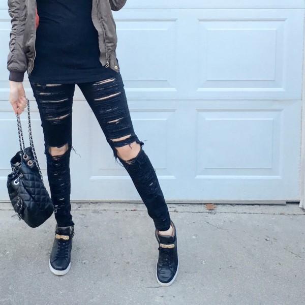 BLank Denim Ripped Skinny Jeans in Black