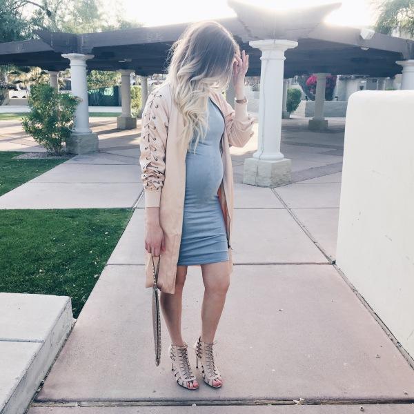 Shop Akira Blue Suede Dress on Fashion Blogger Lauren Sebastian