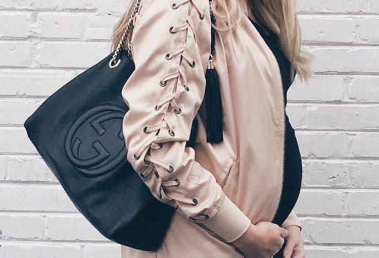 Pink Lace Up Sleeve Long Bomber Jacket