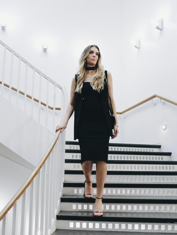 Black Dress with Choker on Fashion Blogger